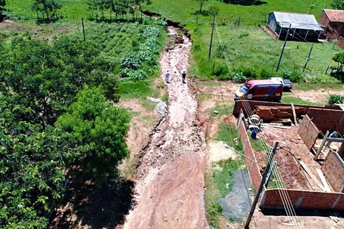 Drone faz imagens da erosão. Foto: Agraer/Reprodução